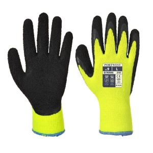 Portwest A143Y8 Thermal Winter Latex Foam Coat Yellow and Black Gloves