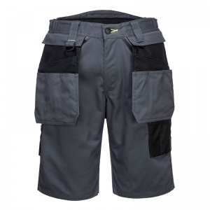 Portwest PW345 Black and Grey Holster Work Shorts