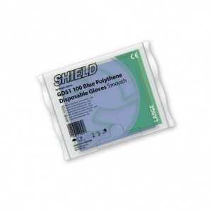 Shield GD51 Smooth Blue Powder-Free Disposable Polythene Gloves