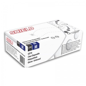 Shield GD76 Embossed Powder-Free Clear Disposable Gloves