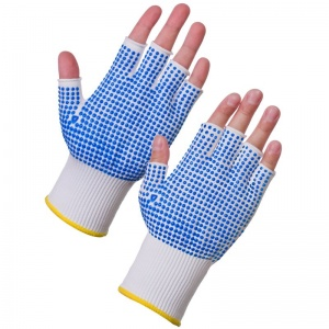 Supertouch PVC Dot Assembly Fingerless Dot Palm/Back Gloves 3022