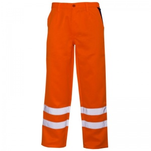 Supertouch Orange Hi-Vis Polycotton Trousers with Knee Band