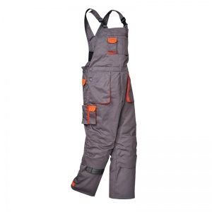 Portwest TX17 Texo Contrast Lined Grey Bib and Brace