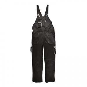 Portwest TX17 Texo Contrast Lined Black Bib and Brace