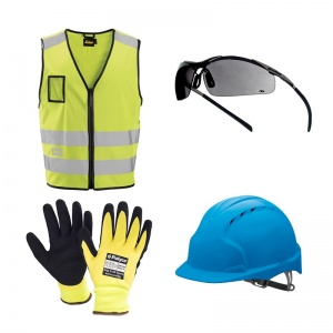 Outdoor Tradesperson Helmet, Gloves, Vest and Goggles Bundle