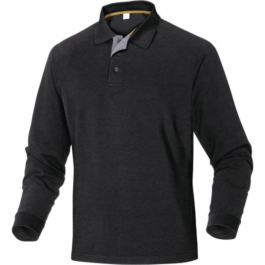 Delta Plus TURINO Cotton Black Polo with Long Sleeves
